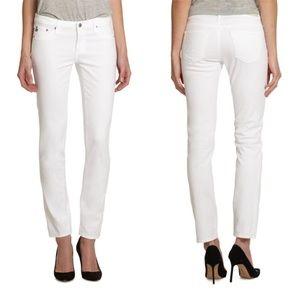 AG l The Stilt Cigarette Leg White Jeans